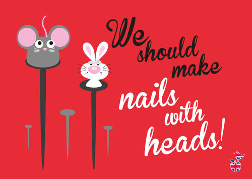 "Denglische Postkarte ""Nails with heads"""