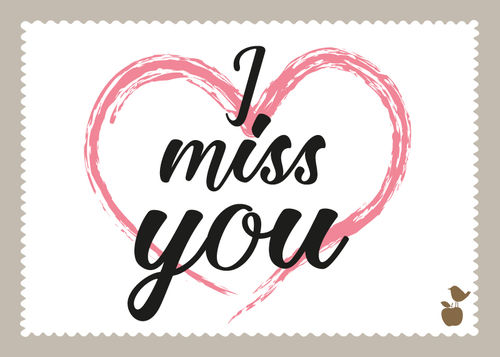 "LoveBirds Postkarte ""I miss you"""