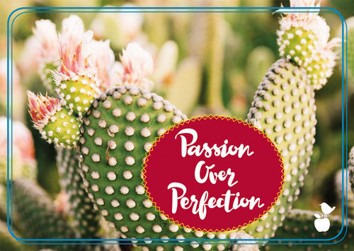 "Postkarte NL Kaktus ""Passion over perfection"""