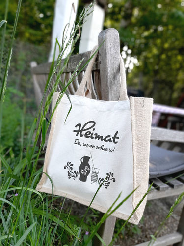 "Jute Shopper mit Canvas ""Heimat Bembel"""