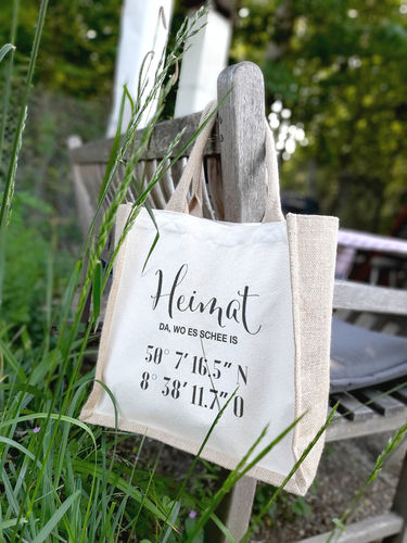 "Jute Shopper mit Canvas ""Heimat Koordinaten"""